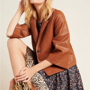 NWT Anthropologie Embroidered Faux Leather Jacket